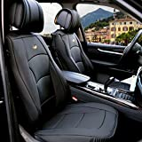 FH Group PU205SOLIDBLACK102 Solid Black Ultra Comfort Leatherette Front Seat Cushion (Airbag...
