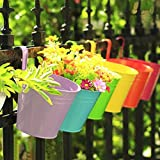 KINGLAKE Flower Pots,10 Pcs Metal Iron Hanging Flower Plant Pots Balcony Garden Plant Planter...