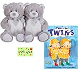 Gender Neutral Twin Teddy Bears and Book Two is for Twins for Baby Shower, Birthday, or Holiday...