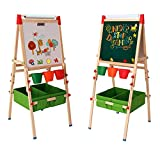 Arkmiido Kids Easel with Paper Roll Double-Sided Whiteboard & Chalkboard Standing Easel with Bonus...