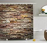 Ambesonne Marble Shower Curtain, Urban Brick Slate Stone Wall with Rocks Featured Facade...