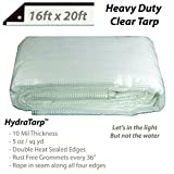 Heavy Duty Clear Greenhouse Tarp - 12ft x 24ft - Premium Quality 10 mil with 3x3 Mesh Weave for...
