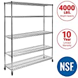Seville Classics UltraDurable Commercial-Grade 5-Tier NSF-Certified Steel Wire Shelving with Wheels,...