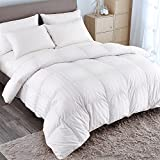 puredown Goose Down Comforter 600 Fill Power Cotton Shell 500 Thread Count Stripe King/Cal King...