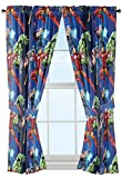 Marvel Avengers Blue Circle Microfiber Curtain Panel Pair with Tiebacks Set, 84 inches wide (42...