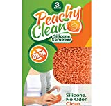 Peachy Clean Silicone Scrubber (Qty 3) - Kitchen and Dish Scrubber - Peach Fragrance