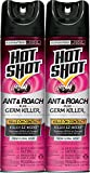 Hot Shot Ant & Roach Plus Germ Killer, Fresh Floral Scent Aerosol, 2/17.5-Ounce