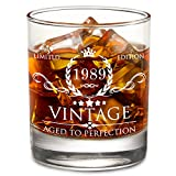 1989 30th Birthday Gifts for Men and Women Lowball Whiskey Glass - Vintage Funny Anniversary Gift...