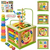 Spunky Kinder Wooden Kids Baby Activity Cube - Boys Gift Set | One 1, 2 Year Old Boy Gifts Toys |...