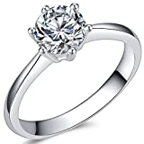 Jude Jewelers 1.0 Carat Classical Stainless Steel Solitaire Engagement Ring (Silver, 7)