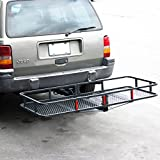 ARKSEN Folding Cargo Carrier Luggage Basket 2' Receiver Hitch (60' x 25' inch) Camp Travel Fold Up...