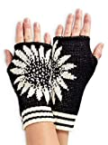 Green 3 Women's Recycled Cotton Coneflower Hand Warmer Fingerless Gloves (Black) Made in USA (One...
