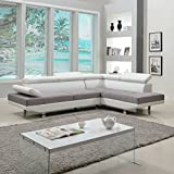 Divano Roma Furniture Modern Contemporary Designed Two Tone Microfiber and Bonded Leather Sectional...