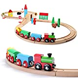 SainSmart Jr. Wooden Train Set Toy with Double-Side Train Tracks, 4 Magnetic Train Cars and Wooden...