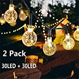 Solar Globe String Lights 30 LED 19.8ft Outdoor Crystal Ball Christmas Decoration Light Waterproof...