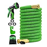75 ft Expandable Garden Hose, Water Hose with 3/4 inch Strong Solid Brass Connector, Expandable Hose...