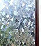 Rabbitgoo Privacy Window Films 3D Crystal Icicles Effect No Glue Static Cling Glass Window Films...