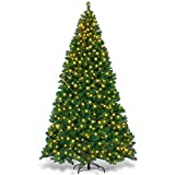 Goplus Artificial Christmas Tree Premium Spruce Hinged Tree with LED Lights and Solid Metal Stand,...