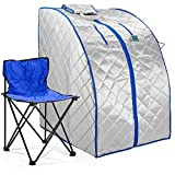 Durasage Infrared IR Far Portable Indoor Personal Spa Sauna with Heating Foot Pad and Chair,...
