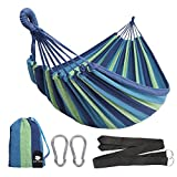 Anyoo Single Cotton Outdoor Hammock Multiples Load Capacity Up to 450 Lbs Portable with Carrying Bag...