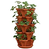 5-Tier Strawberry and Herb Garden Planter - Stackable Gardening Pots with 10 Inch Saucer...