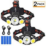 Rechargeable LED Headlamp, 2019 Newest 10000 Lumen Super Bright Zoomable Headlight, 4 Modes USB...