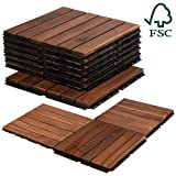 Mammoth Easy Lock Sustainably Sourced Solid Acacia Wood Oiled Finish Interlocking Deck Tiles, Water...