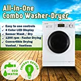 Equator 24 inch Compact New Version All-in-One Combo Washer-Dryer, Vented or Ventless, 1200 RPM,...