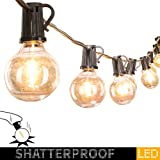 50Ft. LED G40 Outdoor Patio String Lights with 50 Shatterproof LED Clear Globe Bulbs, Warm White...