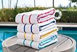 100% USA Cotton Beach-Towels Pool-Towels Family Value Variety Pack of 4 Striped Pool-Towels...
