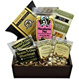 Sweet and Savory Gift Box featuring Smoked Salmon, Crackers, Pistachios, Honey Roasted Peanuts,...