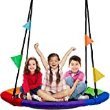 Sorbus Saucer Tree Swing in Multi-Color Rainbow - Kids Indoor/Outdoor Round Mat Swing - Great for...