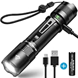 Rechargeable Flashlight, BYB F18 LED Tactical Flashlight, 800 Lumens Super Bright Pocket-Sized CREE...