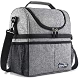 Insulated Lunch Bag with Dual Compartment, Leak Proof Liner Cooler Bag with Adjustable Shoulder...