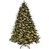 Goplus 7Ft Pre-Lit Artificial Christmas Tree Premium Spruce Hinged Tree w/ 460 LED Lights & Pine...