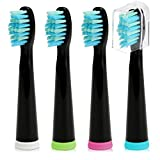 Fairywill Electric Toothbrush Brush Head x 4 for Models of FW-917/ FW-507/ FW-508/ FW-959 Black