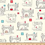 Ink & Arrow Sew What? Sewing Machines Cream Fabric by the Yard