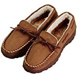 Men's Anti-Slip Casual Plush Lined Microsuede Indoor Outdoor Slip On Moccasin Slippers US 12 Brown...