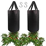 2 Pack Hanging Planter for Tomato, Upside Down Grow Bags, Fabric Plant Pots for Growing Tomato with...