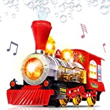 Bubble Blowing Toy Train with Lights and Sounds by ArtCreativity - Includes 5oz Bubble Solution and...