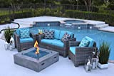AKOYA Outdoor Essentials 4 Piece 42' x 42' Square Modern Concrete Fire Pit Table in Gray w/Outdoor...