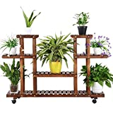 Yaheetech 4-Layer Wooden Flower Stands Rolling Flower Plant Display Shelf Storage Rack Ladder Stand...