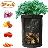 YOSICO 2-Pack Black 10 Gallon Garden Grow Bags Durable Plant Growing Bags Outdoor/Indoor Vegetables...