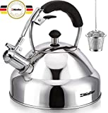 Stove Top Whistling Tea Kettle - Only Culinary Grade Stainless Steel Teapot with Cool Touch...