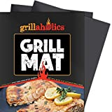 Grillaholics Grill Mat - Set of 2 Heavy Duty BBQ Grill Mats - Non Stick, Reusable, and Easy to Clean...