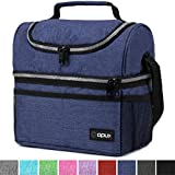 Insulated Dual Compartment Lunch Bag for Men, Women | Double Deck Reusable Lunch Box Cooler with...