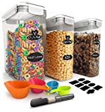 Cereal Container Storage Set - 100% Airtight Food Storage Containers, 8 Labels, Spoon Set & Pen,...