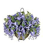House of Silk Flowers Artificial Wisteria Hanging Basket, Dark Violet/Blue