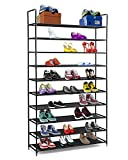 Halter 10 Tier Stackable Shoe Rack Storage Shelves - Stainless Steel Frame Holds 50 Pairs of Shoes -...