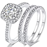 Jude Jewelers Silver Rose Gold Three-in-One Wedding Engagement Bridal Halo Ring Set (Silver, 7.5)